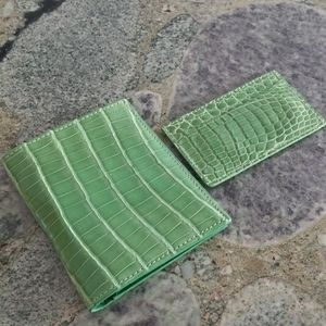 Croc Embossed Leather Passport and Card Case Set